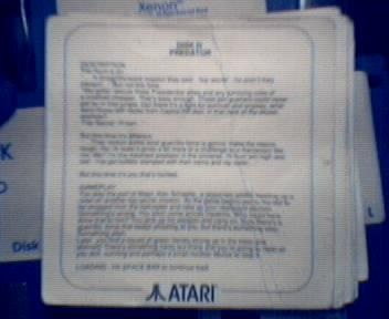 Predator Instruction card from Atari Powerpack
