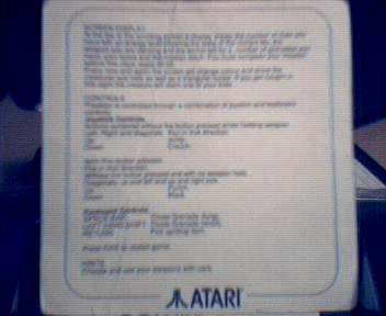 Predator Instruction card from Atari Powerpack (backside)