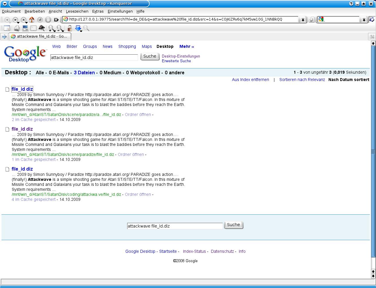 Beispielsuchergebnis mit Google Desktop unter KDE