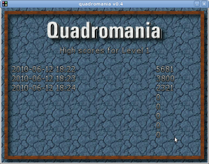 Quadromania v0.4 (Highscore tabelle)