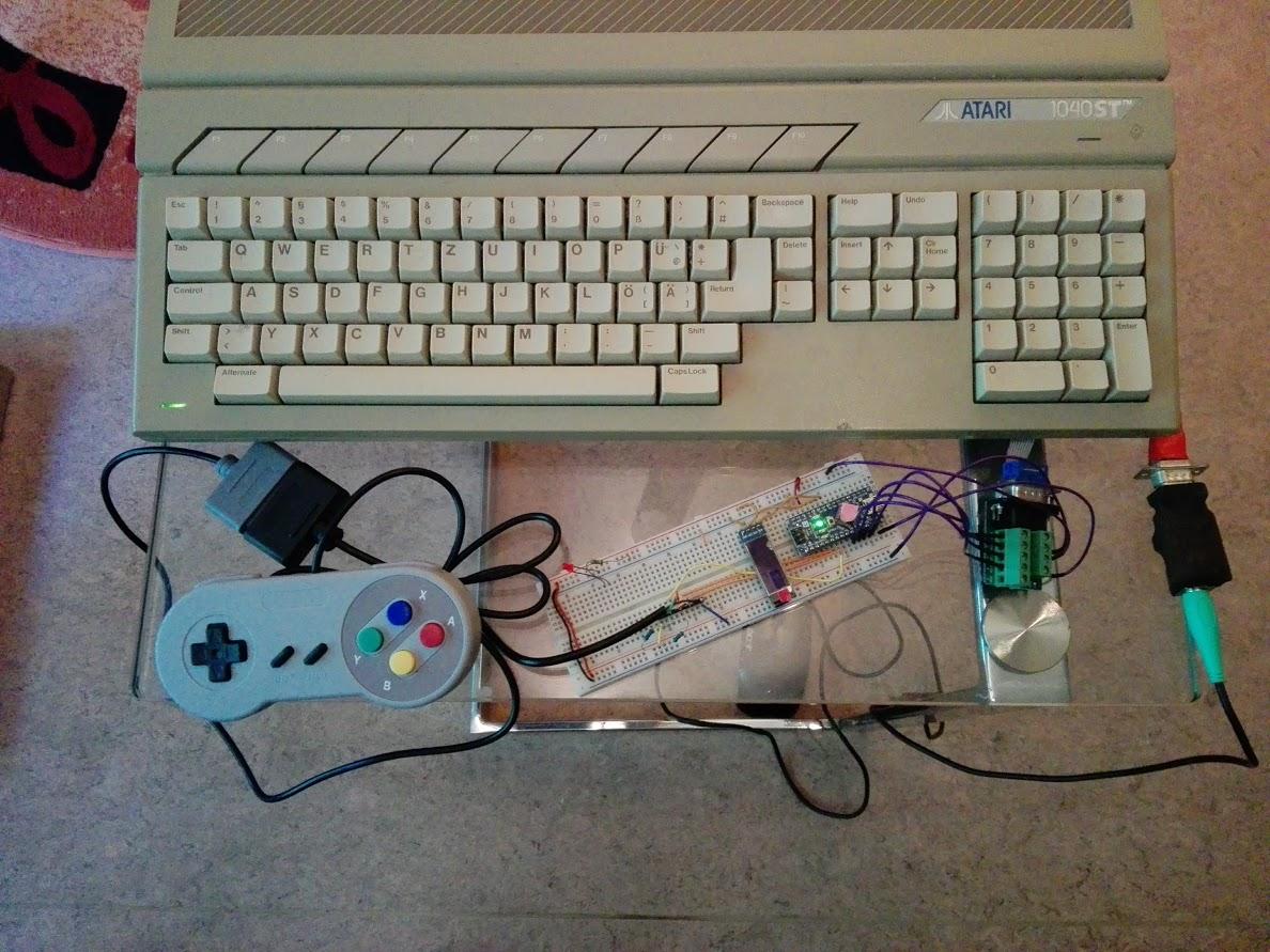 SNES2DB9 Arduino Prototyp am Atari STE